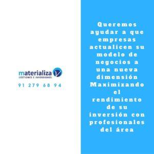 Materializa, Gestiones e Inversiones. Calle Islas Canarias 143 28905, Getafe (Madrid) Telf: 91 279 68 94 Fax: 91 618 26 64
